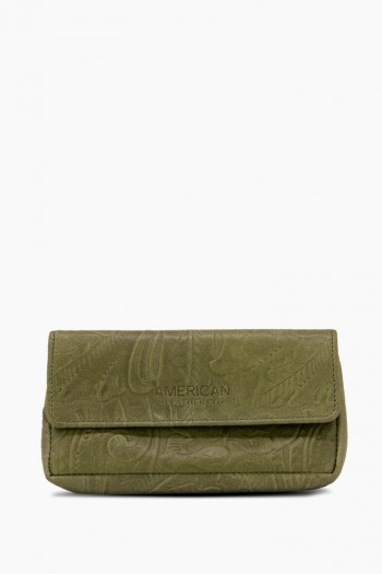 Buffalo Flap Pouch, Olive Tooled