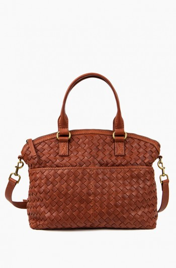 Carrie Dome Satchel Woven, Brandy