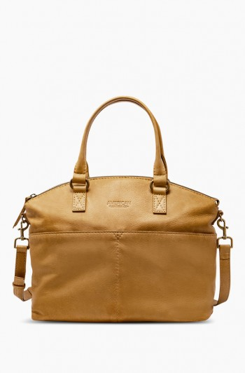 Carrie Dome Satchel, Dark Beige
