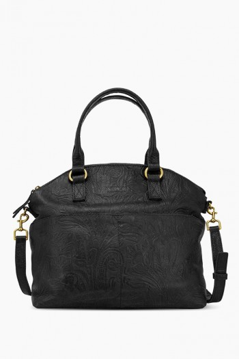 Carrie Dome Satchel, Black Tooled