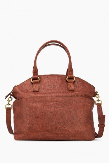 Carrie Dome Satchel, Brandy Tooled
