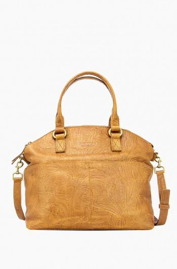 Carrie Dome Satchel, Dark Beige Tooled