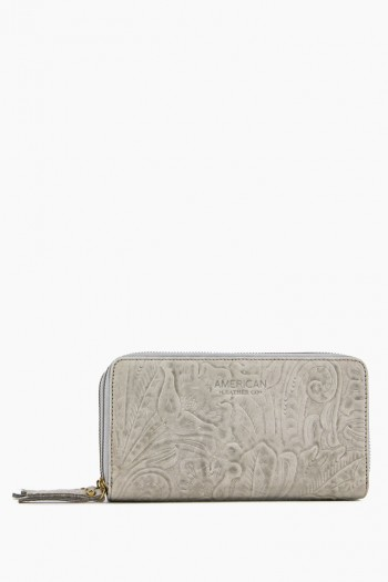 Dallas Double-Zip Wallet, Granite Tooled
