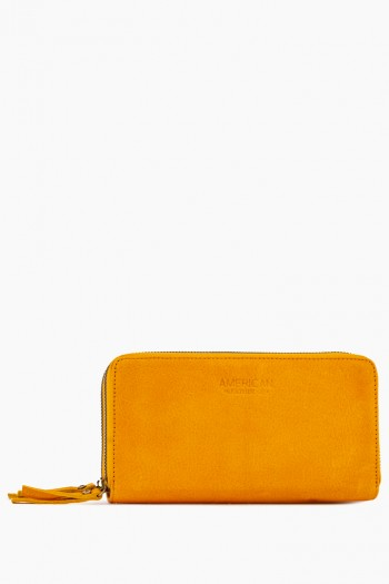 Dallas Double-Zip Wallet, Mustard