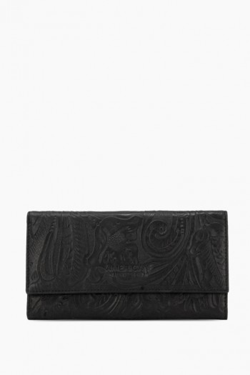 Durham Trifold Wallet, Black Tooled