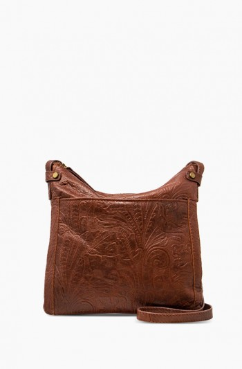 Evansville Flat Crossbody, Brandy Tooled