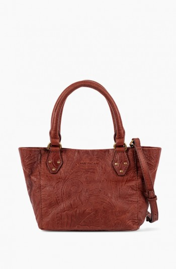 Frenchie  Mini Tote, Brandy Tooled