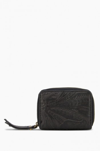 Knoxville Double-Zip Wallet, Black Tooled