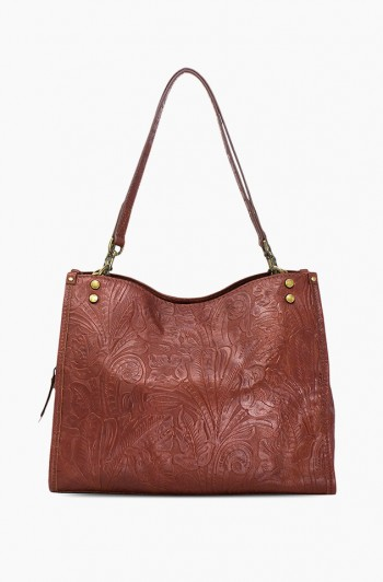 Lenox Triple Entry Satchel, Brandy Tooled