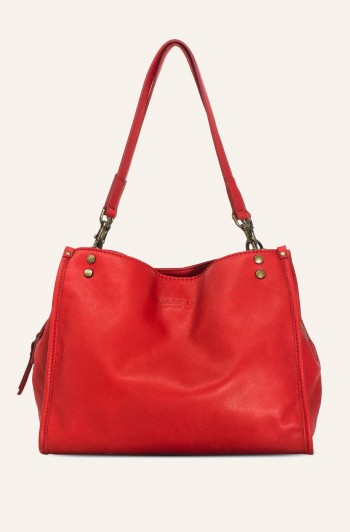 Lenox Triple Entry Satchel, Heritage Red Smooth