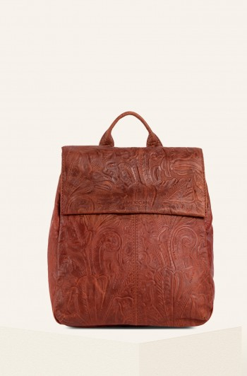 Liberty Backpack, Brandy Tooled