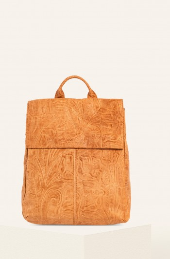 Liberty Backpack, Dark Beige Tooled