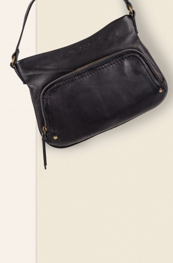 Ridgewood Zip-Around Crossbody, Black Smooth