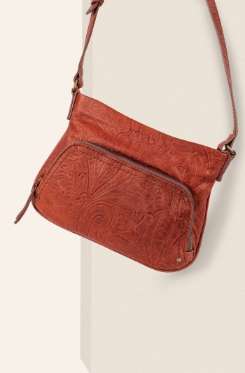 Ridgewood Zip-Around Crossbody, Brandy Tooled