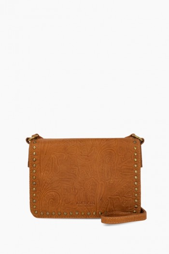 Roslyn Flap Crossbody, Cafe Latte Tooled