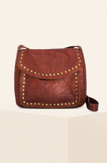Roslyn Vintage Crossbody, Brandy Tooled