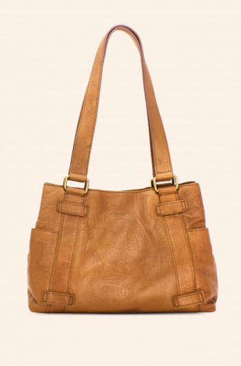 Savannah Shopper, Dark Beige Tooled