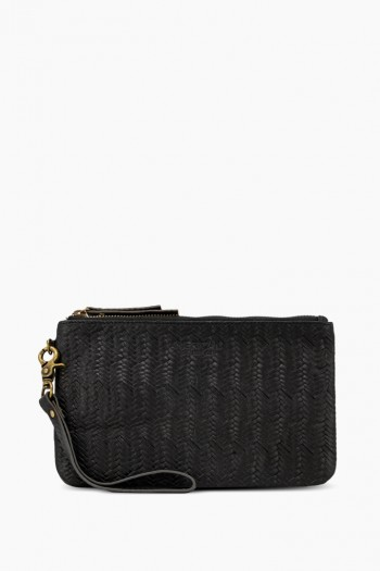 Woven Pouch Wristlet, Black Tooled