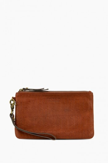 Woven Pouch Wristlet, Brandy Tooled